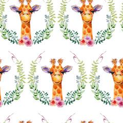 Giraffe watercolor illustration. Seamless pattern on white background.