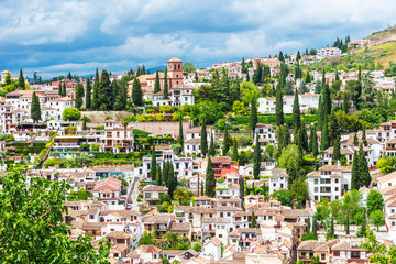 View of the Albaicin (El Albayzin) medieval district of Granada, Andalusia, Spain