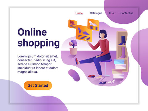 Landing page template of Online Shopping. The Flat design concept of web page design for a mobile website. The Woman choosing and purchasing shoes. Big Sale. Vector illustration.