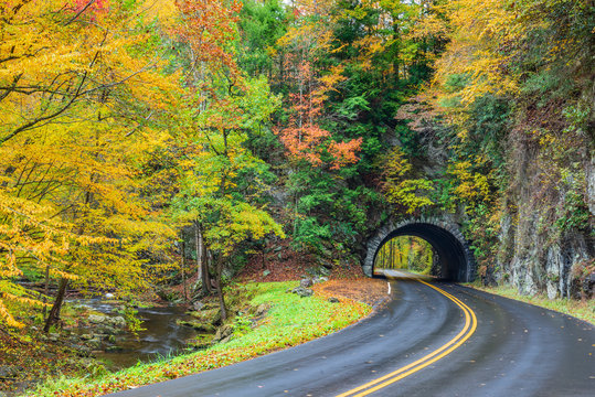 Smoky Mountain Tunnel With Colorful Autumn Foliage