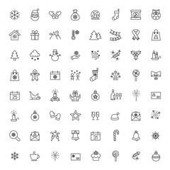 christmas xmas 100 new year winter celebration symbol vector outline line black on white background icons set
