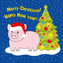 The pig is the symbol of the year in the hat of Santa near the Christmas tree. Drawing, vector illustration. Christmas card.