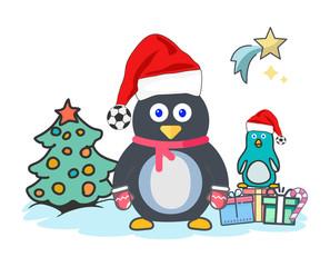 Christmas Penguin Santa Hat Soccer Ball Pom Pom