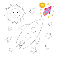 drawing worksheet for preschool kids with easy gaming level of difficulty. Simple educational game for children. The Sun, stars and flying rocket in the space