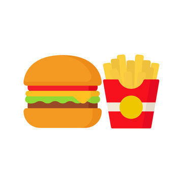 Hamburger and potatoes. Fast food. Food. Vector illustration. EPS 10.