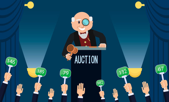 Auctioneer and Bidding. Vector Flat Illustration.