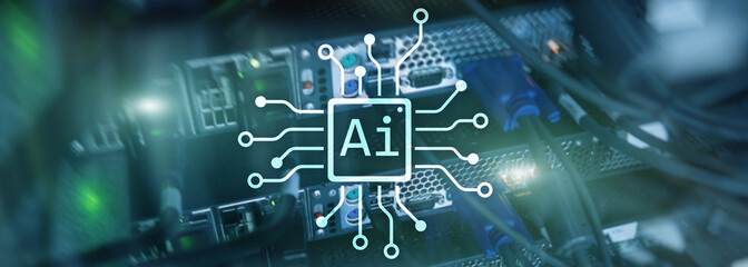 AI, Artificial intelligence, automation and modern information technology concept on virtual screen