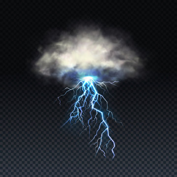 Vector realistic lightning with grey cloud isolated on transparent background. Natural light effect from the sky, bright glowing. Magic blue thunderstorm, design element. Electric charge, stormy spark