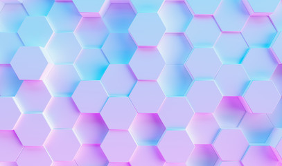 hexagon background in colorful bright neon uv blue and purple lights