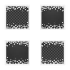 Set of Christmas photo frame with shadow. Template photo frames with snowflakes for Christmas photos.