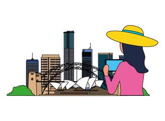 woman taking photo sydney city