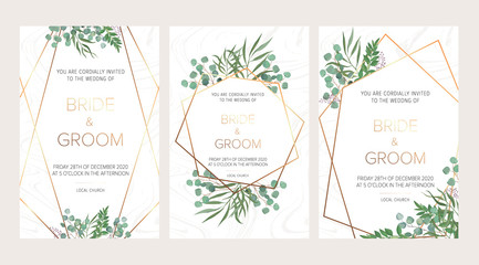 Wedding floral invitation, thank you modern card: rosemary, eucalyptus branches on white marble texture with a golden geometric pattern. Elegant rustic template. All elements are isolated and editable Wall mural