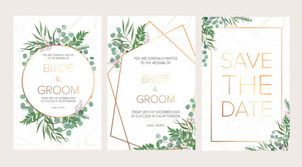 Fototapeta Wedding floral invitation, thank you modern card: rosemary, eucalyptus branches on white marble texture with a golden geometric pattern. Elegant rustic template. All elements are isolated and editable obraz