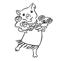 happy cute vector pig cartoon with bouquet