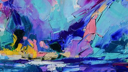 Fragment. Multicolored texture painting. Abstract art background. oil on canvas. Rough brushstrokes...