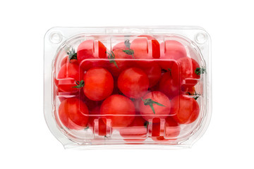 Cherry tomatoes in a plastic container. Fresh cherry tomatoes in box on white background.