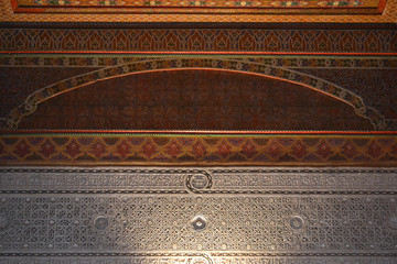 Stucco details and decorated wooden ceiling of the Bahia Palace | Marrakesh, Morocco