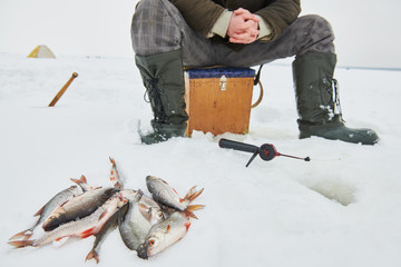 fishing at winter. Fisherman waiting fish bite