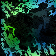 modern abstraction green blue lines on black background. abstract background of figures stones