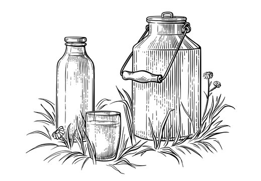 healthy Breakfast drawing sketch glass milk bottle iron can cup vector illustration