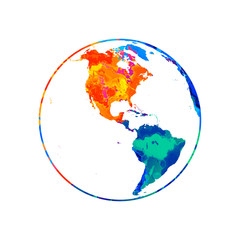 Abstract planet Earth from splash of watercolors. World map globe