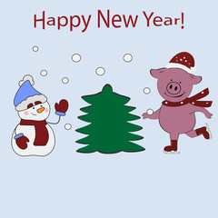 Christmas card. Funny card with the Christmas characters Piggy and Snowman. Greeting card Merry Christmas and Happy New Year with cute pig in Santa Claus hat and skates