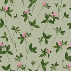 Pink clover. Design of abstract wildflowers. Flowering meadow. Seamless pattern of clovers. Floral light green background for textile, fabric, wallpapers, covers, print, decoupage, gift wrap
