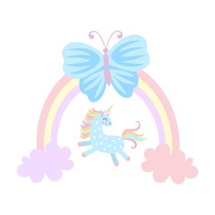 Small unicorn is playing among the clouds, large blue butterfly is sitting on rainbow isolated on white background in  vector. Prints for T-shirt. Fairytale pattern for children.