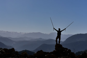 mountaineering, sporting activity and success happiness
