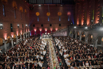 The Blue Hall, with the head table in the center, is seen during the Nobel Prize banquet in Stockholm City Hall