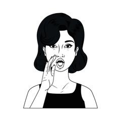 woman telling a secret avatar character