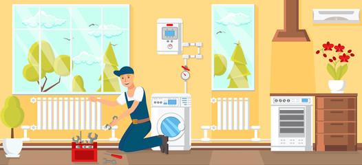 Plumbing Service Concept. Vector Illustration.