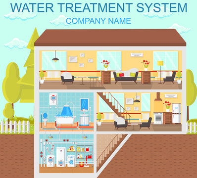Water Treatment System. Vector Flat Illustration.