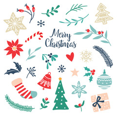 Hand drawn Christmas elements and symbols for holiday