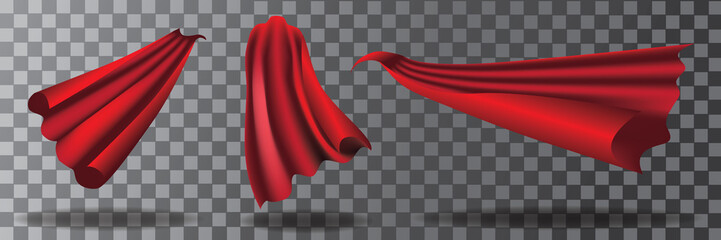 Cartoon super hero cape collection with transparent shadows. Eps10 vector illustration.