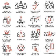 Vector set of linear icons related to human resource management, senior management and succession planning. Mono line pictograms and infographics design elements - part 2