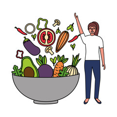 woman with bowl vegetables healthy food