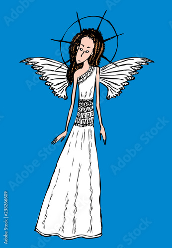 Vector Image Of Young Angel Girl Stock Image And Royalty Free