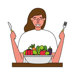 woman with fork and knife vegetable healthy food