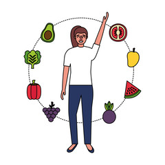 woman with fruits and vegetable healthy food