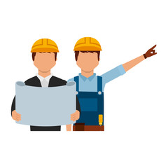 architect and foreman with blueprint