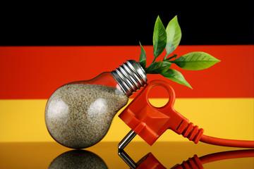 Plug, plant growing inside the light bulb and Germany Flag. Green eco renewable energy concept.