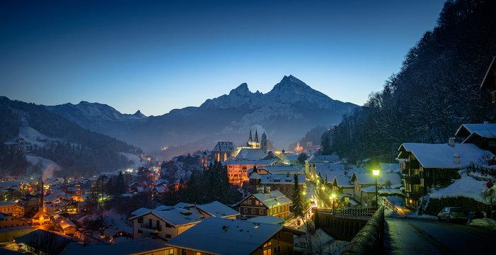 Berchtesgaden City in front of mount Watzmann in Winter