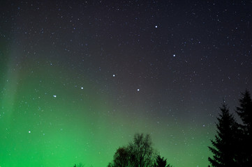 Big Dipper and Northern Lights in the night sky