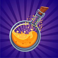 Glass bottle with magic elixir. Computer game asset. Fantasy vector cartoon illustration.