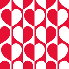Modern red and white reflected hearts with 60's vibe on striped geometric background as seamless vector pattern. Great for Valentine's themed giftwrap, scrapbooking and commercial projects.