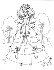 Coloring book for children. Beautiful little princess 14
