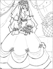 Coloring book for children. Beautiful little princess 22