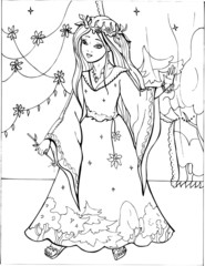 Coloring book for children. Beautiful little princess 23