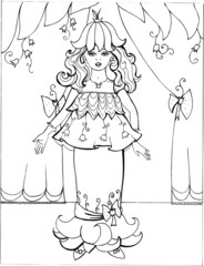 Coloring book for children. Beautiful little princess 26